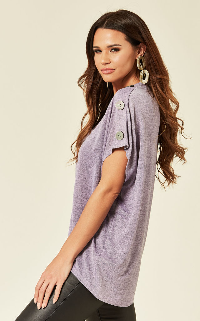 RADHIKA – Button Shoulder Oversized Lilac Top by Blue Vanilla