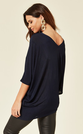 LAYLA – Double V Asymmetric Navy Top by Blue Vanilla