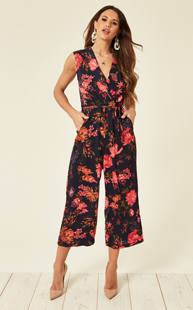 Wrap Tie Waist Culotte Jumpsuit in Navy Floral by AX Paris