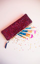 Glitter Makeup Brush Holder in Berry Pink by Suki Sabur Designs