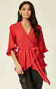 Red Wrap Frill Top by AX Paris