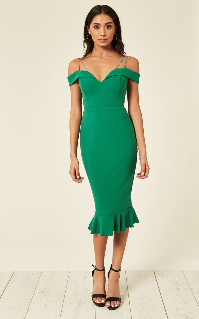 7d21a6504a5 Green Off The Shoulder Strappy Fishtail Dress by AX Paris