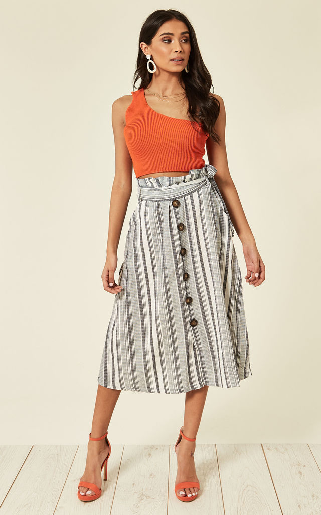 TRACY- Paper Button Front Stripe Denim Skirt by Blue Vanilla