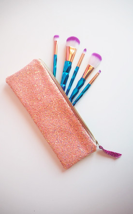 Sparkly Makeup Brush Holder in Bubblegum Pink by Suki Sabur Designs