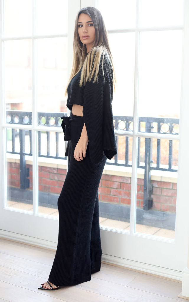 JOSIE Black Knitted Loungewear by Giorgi London