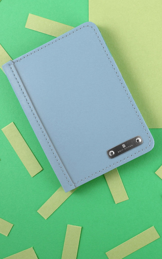 Colourful Leather Passport Cover in Light Blue by Brit-Stitch