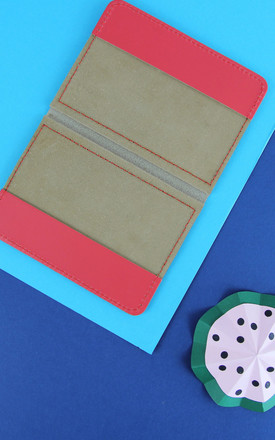 Colourful Leather Passport Cover in Bright Red by Brit-Stitch
