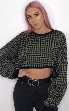 9b5a4c721 CELISE CROP JUMPER IN KHAKI AND BLACK DOGTOOTH by Peachy Label ...