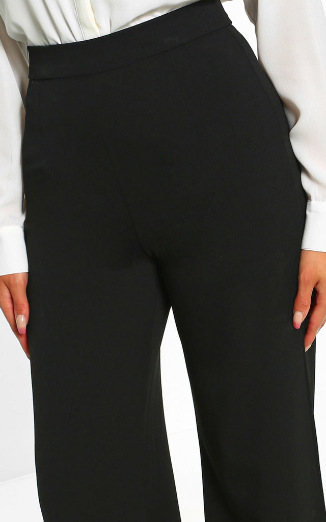I See Fire Black High Waisted Wide Leg Trousers by Pink Boutique