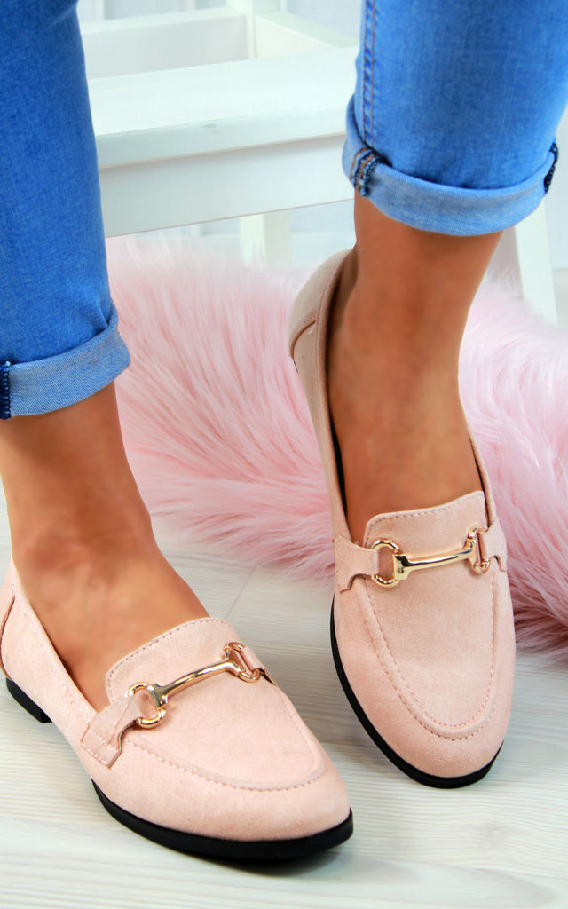 Pink Embellished Casual Loafers by Larena Fashion