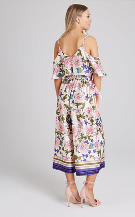Bennett Floral-Print Cold-Shoulder Culotte Jumpsuit by Girls On Film
