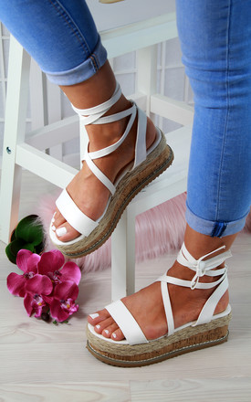 White Cross Strap Espadrille Flatforms by Larena Fashion