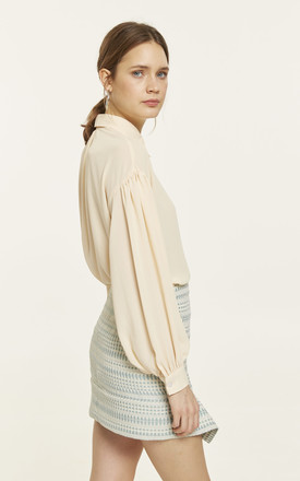 Cream, button down blouse with puffy, bishop sleeves by CUBIC