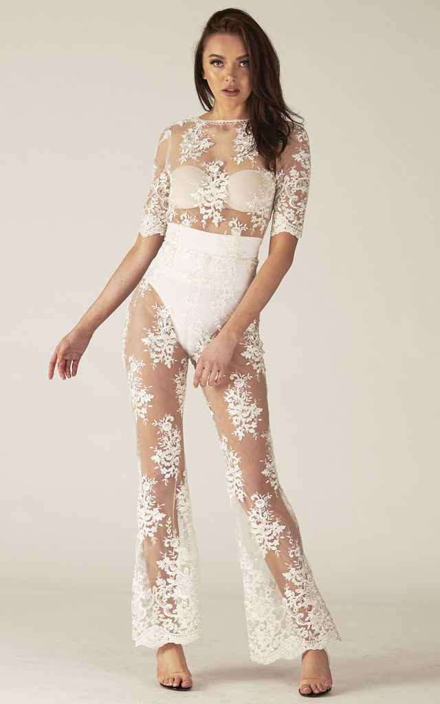 705df1b37c5 ... Maya White Sheer Mesh Sequin Jumpsuit by RTR Label ...