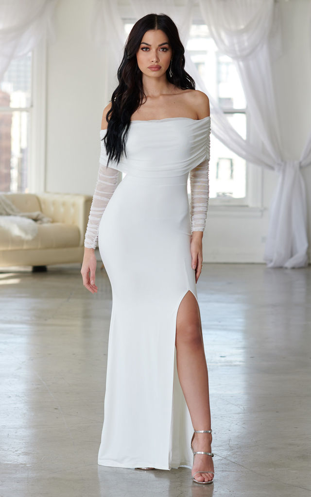 2c50dd0ab9 White Ruched Mesh Split Bardot Maxi Wedding Dress | Club L London ...