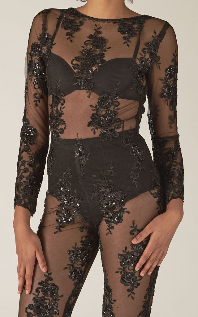7e4f3704676 Maya black Sheer Mesh sequin Jumpsuit by RTR Label
