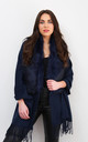 Navy Faux Fur Collar Poncho by Styled By Grazia