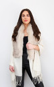 Cream Faux Fur Collar Poncho by Styled By Grazia