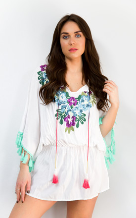 Boho White Kaftan with floral and sequin detail by Styled By Grazia