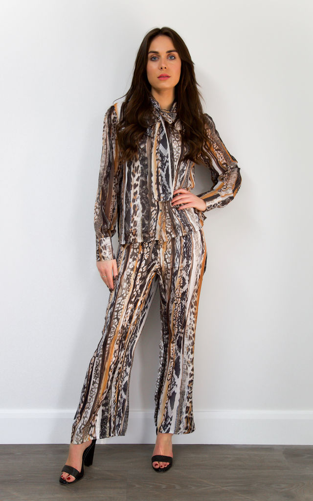 Animal Print Long Sleeve Blouse and Trouser Co-ord by Styled By Grazia