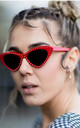Red Cat Eye Sunglasses With Mini Studs by Urban Mist