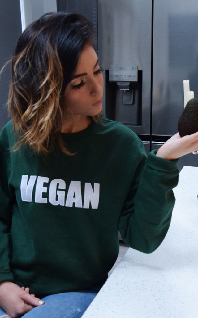 'Vegan' Embroidered White Slogan Sweater in Green by Twisted Saint