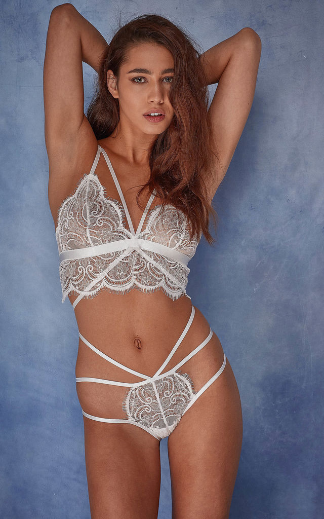 Wolf & Whistle Tanja white lace strappy brief by Wolf & Whistle
