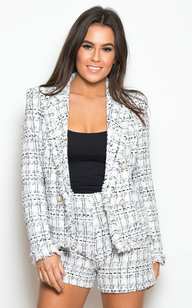 Amelia Tweed Pearl Button Blazer Black/White by Girl In Mind