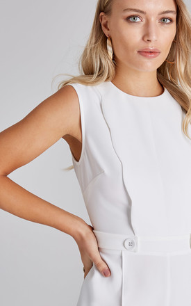 Conrad White Scallop Detail Jumpsuit by Girls On Film