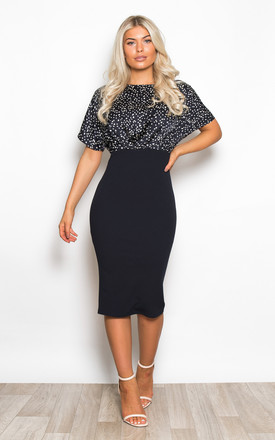 Fleur Batwing Top Bodycon Midi Dress Navy Spot by Girl In Mind Product photo