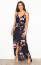 Mia Floral Wrap Maxi Dress Navy by Girl In Mind