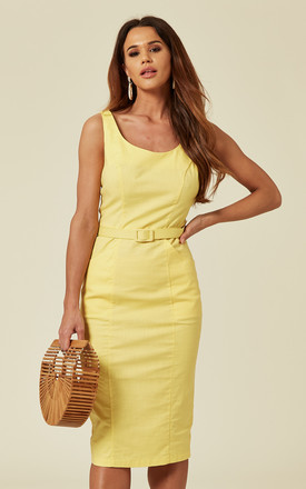 Ines Belted Low Back Midi Pencil Dress In Yellow by Collectif Clothing Product photo