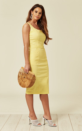 Ines Belted Low Back Midi Pencil Dress in Yellow by Collectif Clothing