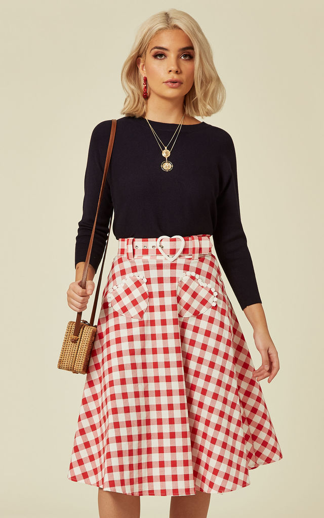 d26c5a3740 Violetta Red & White Gingham Midi Skater Skirt | Collectif Clothing ...
