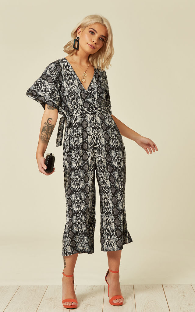Culotte Jumpsuit in Snakeskin Print by Faux England
