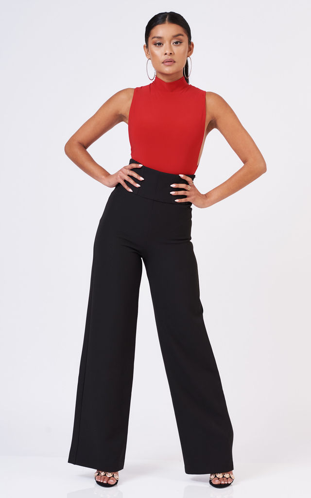 Low Side High Neck Bodysuit in Red by Club L London