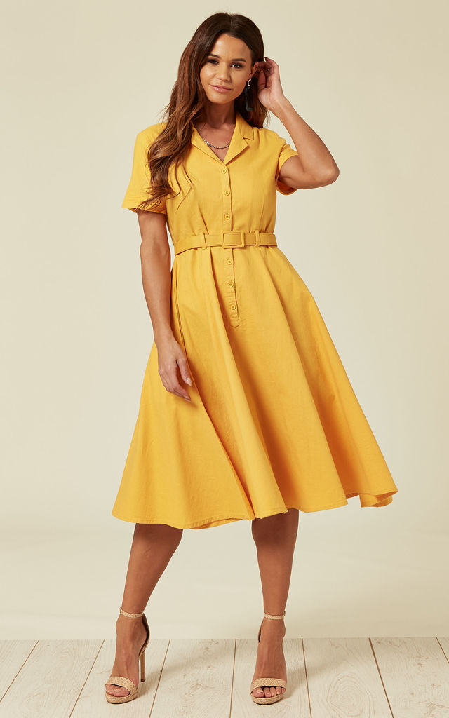 cc20570583411 Caterina Midi Skater Shirt Dress in Summer Holiday Yellow by Collectif  Clothing