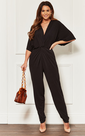 Black Twist Front Jumpsuit by John Zack Product photo