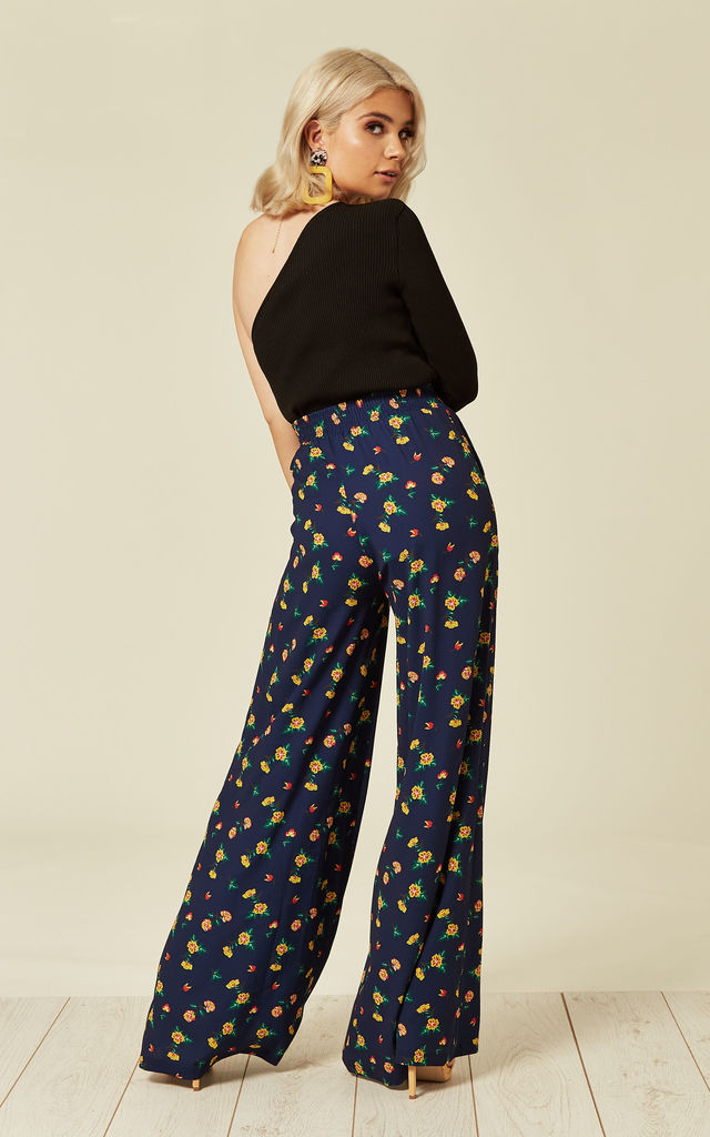 Lucy Floral Print Palazzo Navy Trousers by Bright & Beautiful