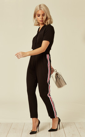 Madison Black Jumpsuit with Contrasting Side Stripe by SUGARHILL BRIGHTON