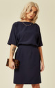 Navy Fitted Midi Dress by Lanti
