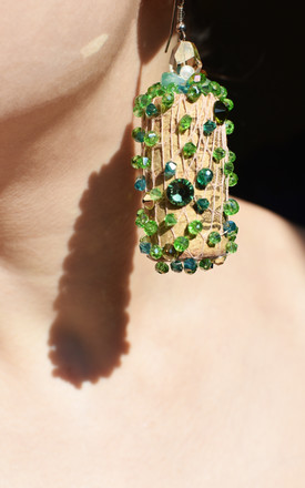 Green sparkly wine corks sparkly statement earrings by Anna Kompaniets