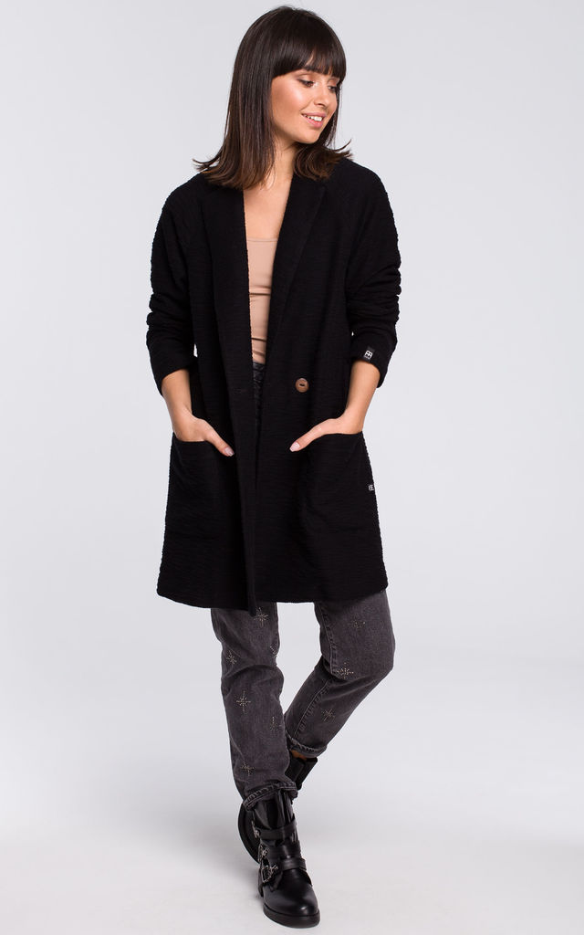 Black Long Double Breasted Patch Pockets Coat by MOE
