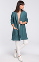 Turquoise Long Double Breasted Patch Pockets Coat by MOE