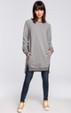 Grey Long Sleeve Side Splits Oversize Jumper Sweatshirt by MOE