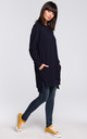 Navy Blue Long Sleeve Side Splits Oversize Jumper Sweatshirt by MOE