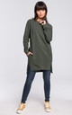 Military Green Long Sleeve Side Splits Oversize Jumper Sweatshirt by MOE