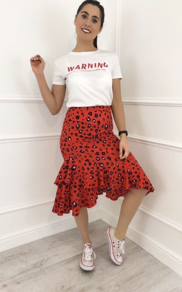 Kaia Red Asymmetric Frill Hem Animal Leopard Print Skirt by LB LONDON