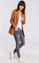 Caramel Long Sleeve Classic Casual Blazer by MOE
