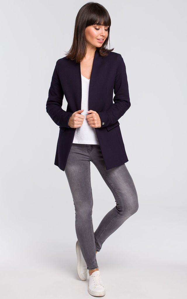 Navy Blue Long Sleeve Classic Casual Blazer by MOE